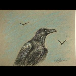 Original artwork raven crow bird art by artist